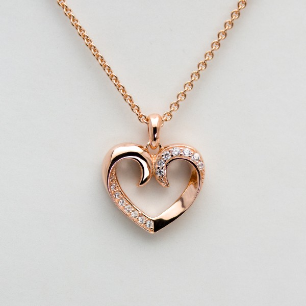 HEART FOR YOU - Collier Kette m. Herz Zirkonia, rosévergoldet