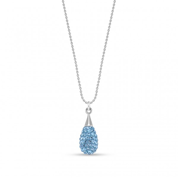 Spark Silver Jewelry Pave Drop Collier Aquamarin