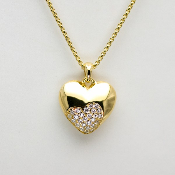 Unique Heartshapes, Collier Kette m. Herz Zirkonia, vergoldet