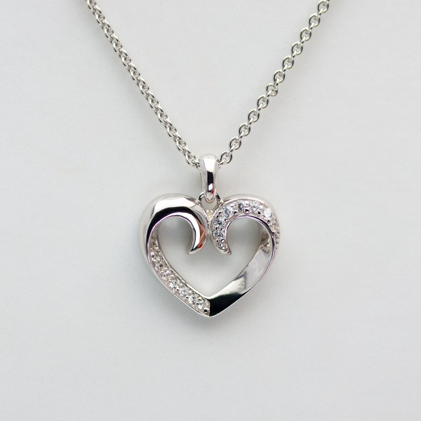 HEART FOR YOU - Collier Kette m. Herz Zirkonia, rhodiniert