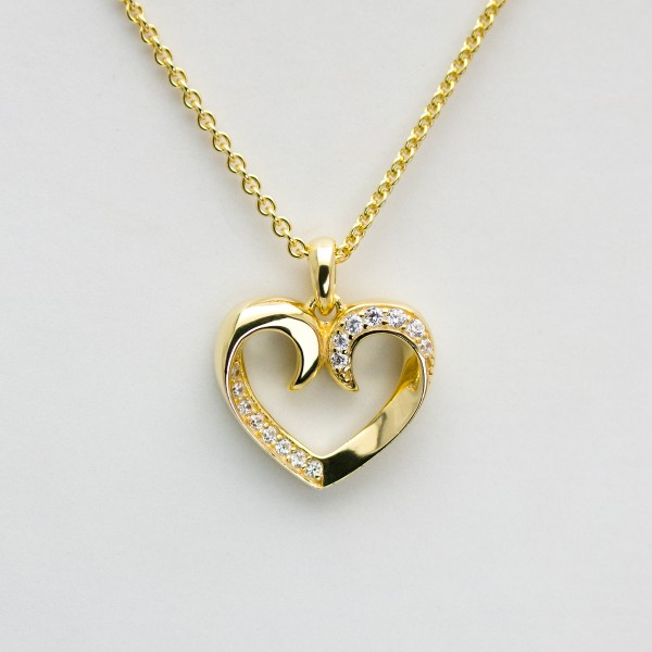 HEART FOR YOU - Collier Kette m. Herz Zirkonia, vergoldet