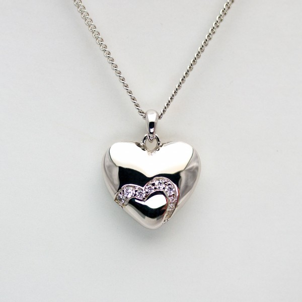 Unique Heartshapes, Collier Kette m. Herz Zirkonia, rhodiniert