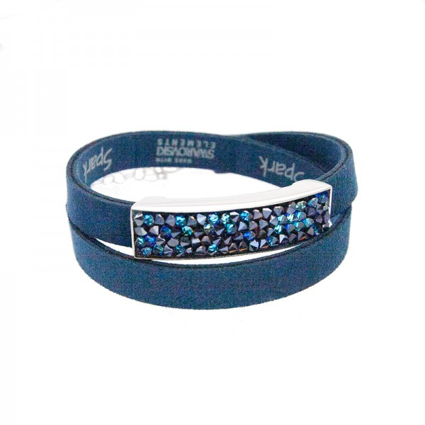 Spark Silver Jewelry Wickel-Armband mit Swarovski Elements blau