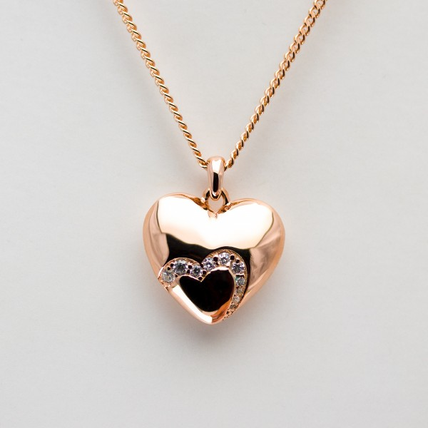 Unique Heartshapes, Collier Kette m. Herz Zirkonia, rosé